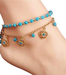 Buy 1 leg only turquoise imitation pearl anklets for girls payals indian women bridal jewellery sets anklet online