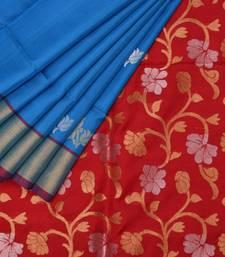 Buy Blue and red uppada silk handloom saree with blouse uppada-saree online