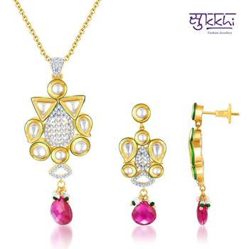 Sukkhi Kundan-CZ Gold and Rhodium plated