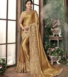 Buy Chiku Cinnon Silk Designer Embroidered Saree designer-embroidered-saree online