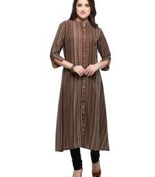 Buy Inddus Brown printed cotton poly long-kurtis long-kurtis online