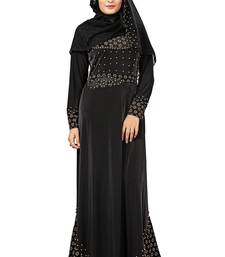 Buy Black color velvet embossed abaya burka with belt and chiffon hijab burka online