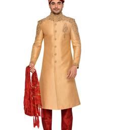 Buy Gold jharna silk wedding sherwani wedding-sherwani online