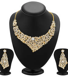 Buy Alluring Gold Plated AD Necklace Set for Women necklace-set online