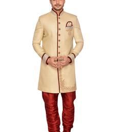 Buy Gold  linen jute wedding sherwani wedding-sherwani online