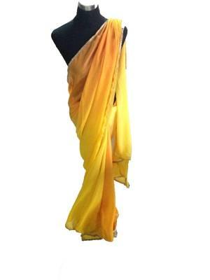 Yellow and orange shaded saree