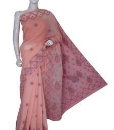 Buy Ada hand embroidered peach cotton lucknow chikankari saree with blouse chikankari-saris online
