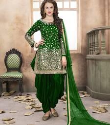 Buy Dark-green mirror work taffeta salwar kameez patiala-salwar online