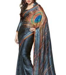 Buy Gray printed crepe saree with blouse printed-saree online