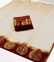 Buy White woven tussar silk saree with blouse tussar-silk-saree online