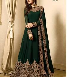 Buy Green embroidered faux georgette salwar anarkali-salwar-kameez online