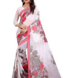 Buy white printed georgette saree with blouse printed-saree online