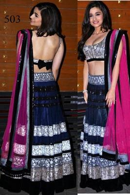 Stunning Alia Bhatt In Net Designer Blue Lehanga Saree With Matching Blouse Piece And Petticoat with Multi work