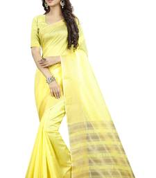 Buy Yellow Woven Poly Cotton Banarasi Saree With Blouse banarasi-saree online