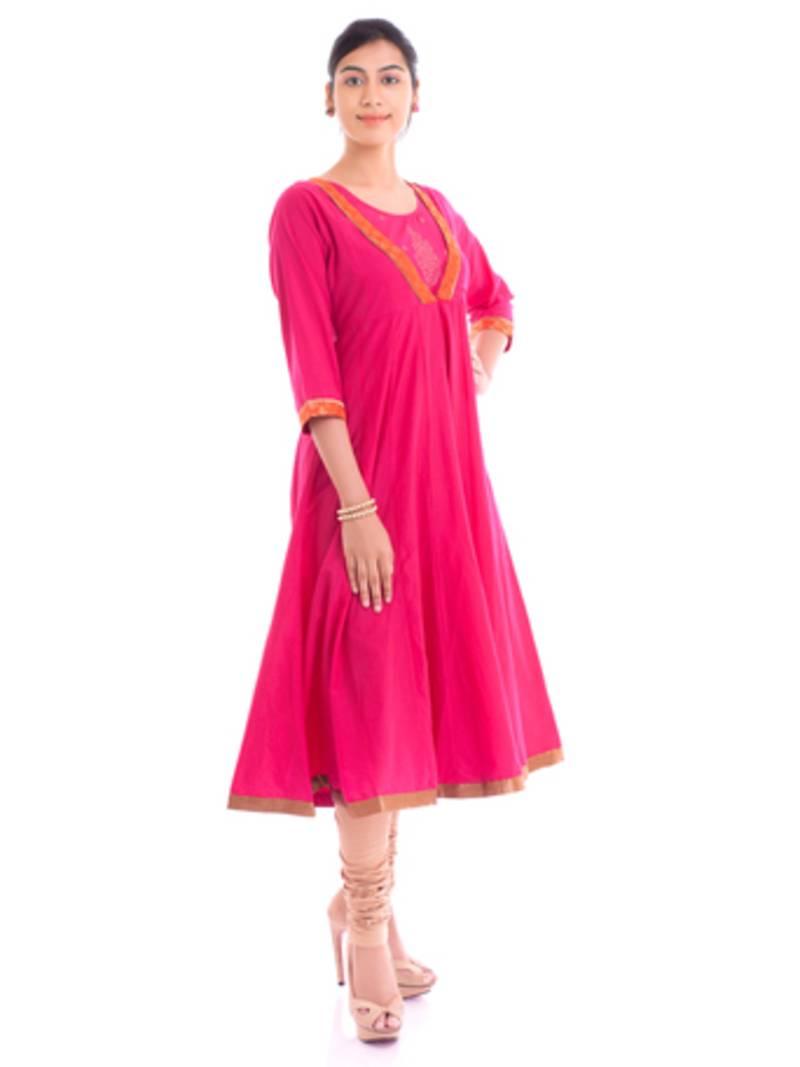 Buy Stylish Long Cotton Brocade Pink Anarkali Kurta Online