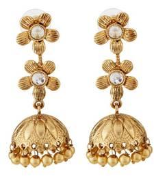 Buy Flowers Design Gold Plated Jhumki Earring jhumka online