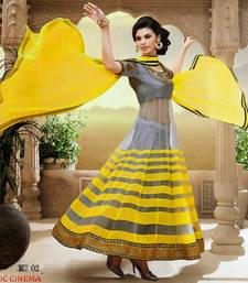 Buy Grey With Yellow embroidered net semi-stitched salwar with Duppatta anarkali-salwar-kameez online