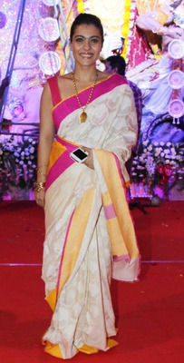 Kajol Bollywood Replica Saree in Cotton Silk Fabric with border work in contrast color with Multi Work