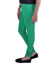 Buy green plain Cotton - lycra leggings legging online