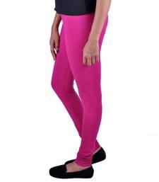 Buy Magenta plain Cotton - lycra leggings fashion-deal online