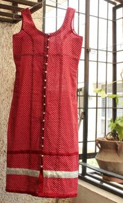 Red Pollka with silver potli buttons