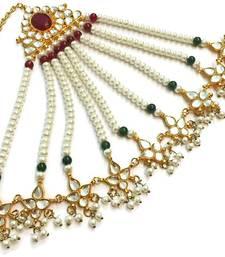 Buy Kundan & pearl bridal Pasa green and maroon maang-tikka online