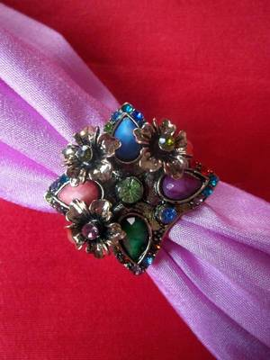 stones and flower ring