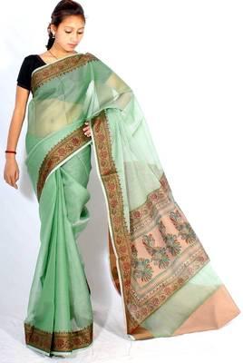 Supernet Poly cotton border printed pallu saree