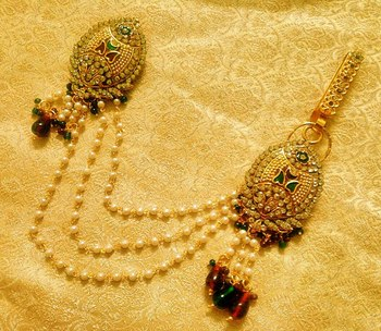Maroon Green Bridal Saree Pin Brooch Juda Wedding Jewelry