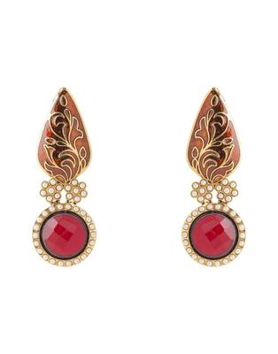 Red Bindi Design Earrings