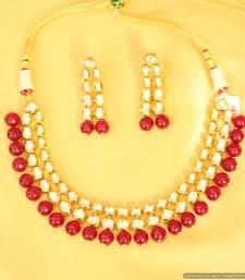 Buy Royal look kundan double line necklace set necklace-set online
