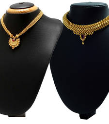 Buy Crystal Yellow Gold Alloy Combo Pack of 2 Necklace jewellery-combo online