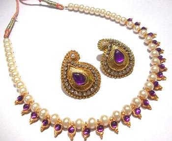Purple kundan mango necklace set