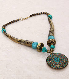 Buy Turquoise Gold Tubes Tibetean Necklace Necklace online