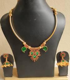 Buy BEAUTIFUL HANDMADE GREEN PALAKKA NECKLACE SET-DJ04372 eid-jewellery online