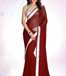 Buy Maroon plain georgette saree with blouse bridal-saree online