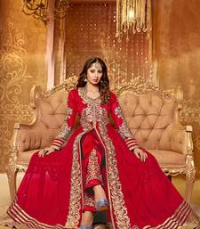 Buy Red embroidered net semi-stitched salwar with dupatta semi-stitched-salwar-suit online