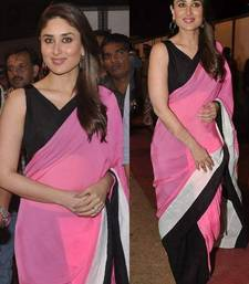 Buy pink and black color plain chiffon fabric bollywood style saree with blouse piece kareena-kapoor-saree online