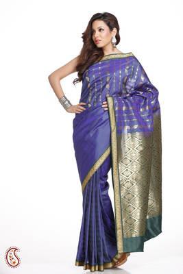Persian Blue Stripes Design Art Silk Saree Rich Pallu