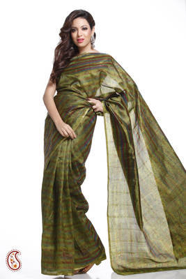 Olive Green Stripes and Printed Tusser Silk Saree
