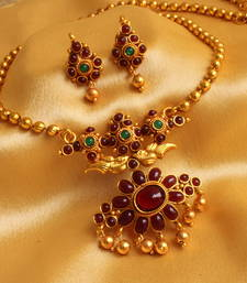 Buy AWESOME ANTIQUE DESIGNER MAROON GREEN NECKLACE SET-DJ07522 necklace-set online