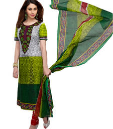 Buy GREEN  printed pure-cotton unstitched salwar with dupatta ready-to-ship-salwar-kameez online