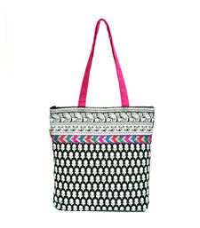 Buy B&W PRINTED TOTE WITH MULTICOLOURED LACE tote-bag online