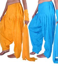 Buy Combo Pack of 2 Cotton Jacquard Patiala & Chiffon Dupatta Set readymade-suit online