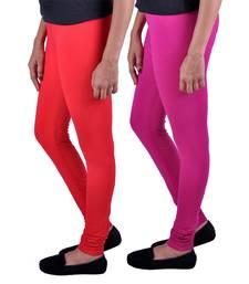 Buy Combo Pack of 2 Cotton , Lycra Leggings- Light Red & Magenta leggings-combo online
