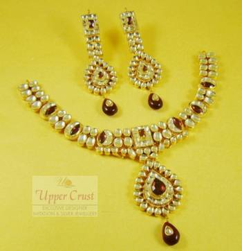 High end Kundan Glass Polki Necklace Set