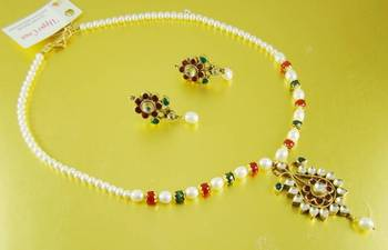 Red Green Pearl Handmade Necklace Pendant Jewellery