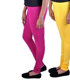 Buy Combo Pack of 2 Cotton , Lycra Leggings- Magenta & Yellow leggings-combo online
