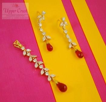 Sleek Long CZ Red Dangler Earrings Pendant Jewellery