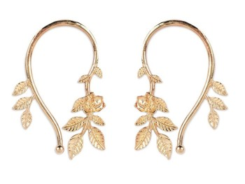 Rose Flower Leaves Cuff Earrings
